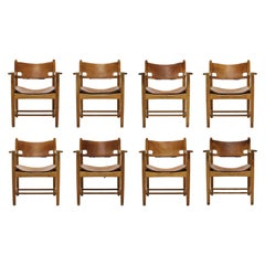Set of 8 Børge Mogensen Armchairs in Oak and Patinated Saddle Leather