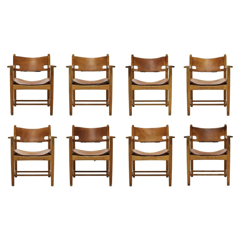Set of 8 Børge Mogensen Armchairs in Oak and Patinated Saddle Leather For Sale