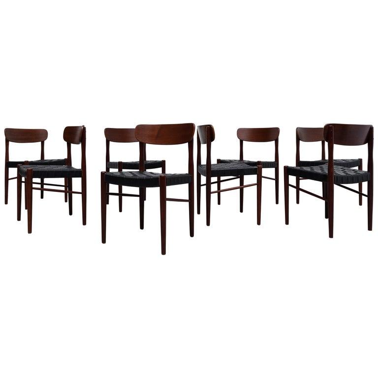Set of 8 Børge Mogensen Style Danish Teak Dining Chairs For Sale