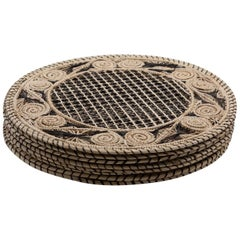Set of 8 Brown and Cream Round Iraca Fibre Placemats