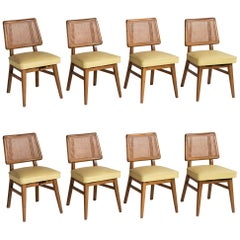Set of 8 Cane Back Dining Chairs, America, circa 1960