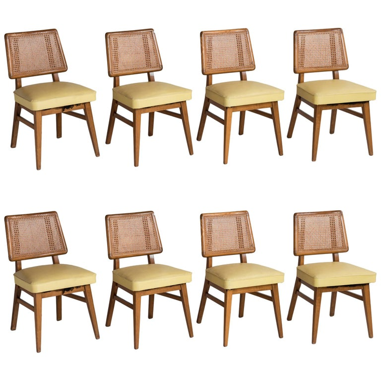 Set of 8 Cane Back Dining Chairs, America, circa 1960 For Sale
