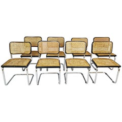 Set of 8 Cane Webbing Chairs after Marcel Breuer, Italy