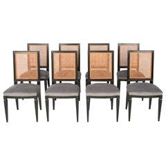 Set of 8 Caned Back Ebonized Dining Chairs