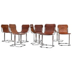 Set of 8 Cantilevered Cidue Style Leather Dining Chair