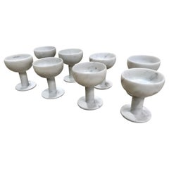 Set of 8 Carrara Marble Chalices, Italy