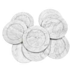 Set of 8 Carrara Marble Dinner Plates or Plate, Italy