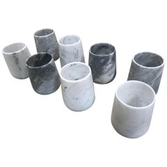 Set of 8 Carrara Marble Glasses, Italy