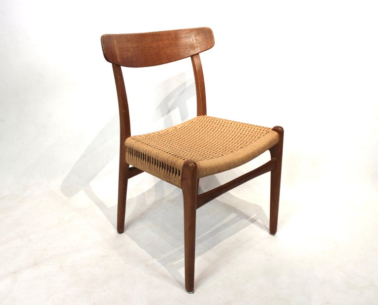Papercord Set of 8 CH23 dining chairs by Hans Wegner and Carl Hansen & Son, 1950s For Sale