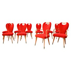 Set of 8 Chairs and 2 Armchairs, Italy, 1950s - New Upholstery
