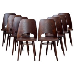 Set of 8 Chairs by Oswald Haerdtl, Beech Veneer, Oil Finish