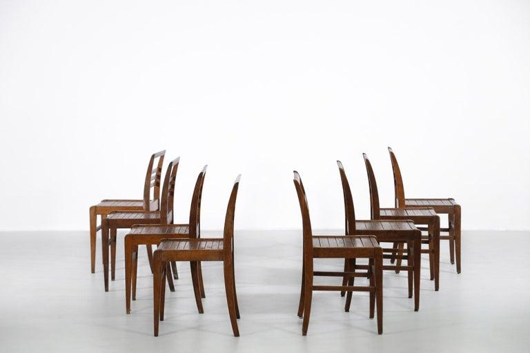Set of 8 Chairs by René Gabriel, Vintage Oak, 1950s For Sale 4