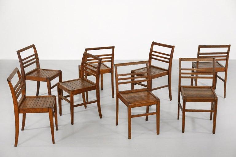 Mid-Century Modern Set of 8 Chairs by René Gabriel, Vintage Oak, 1950s For Sale