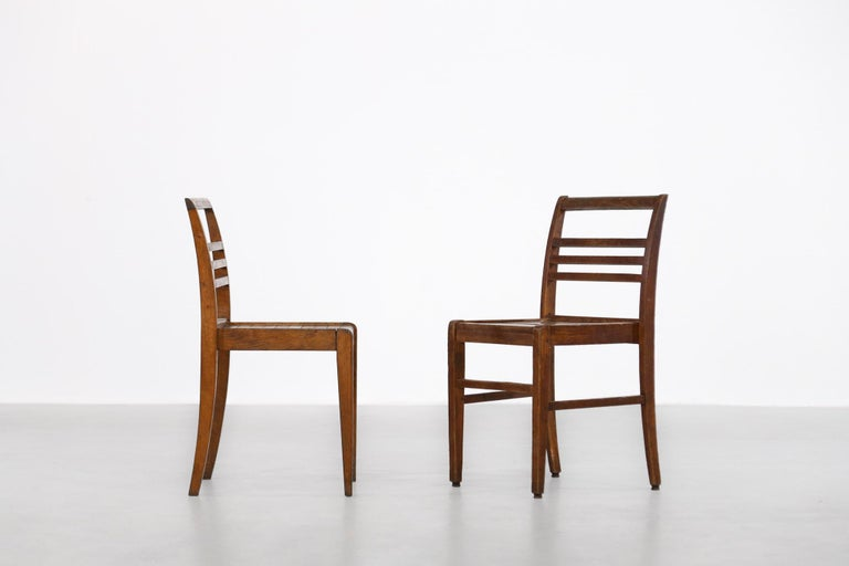 French Set of 8 Chairs by René Gabriel, Vintage Oak, 1950s For Sale