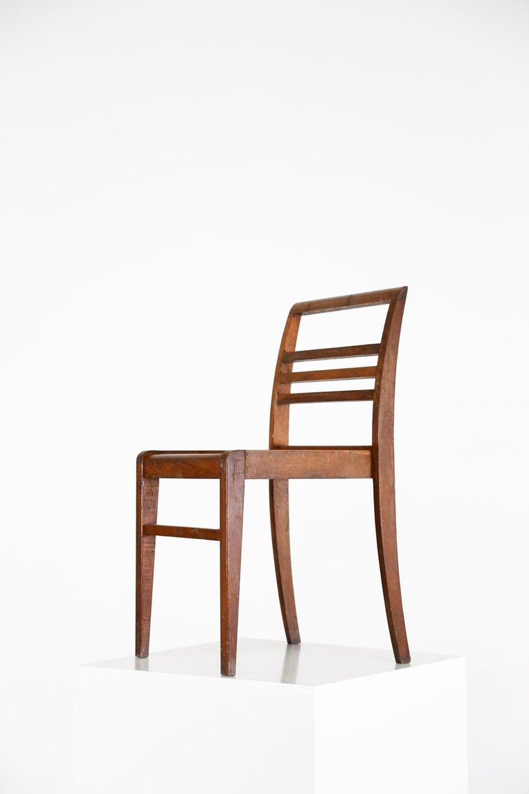 Set of 8 Chairs by René Gabriel, Vintage Oak, 1950s In Good Condition For Sale In Lyon, FR