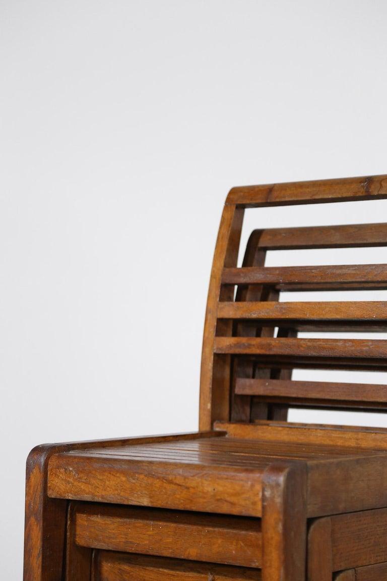 20th Century Set of 8 Chairs by René Gabriel, Vintage Oak, 1950s For Sale