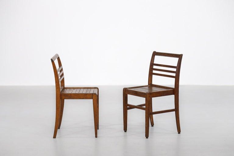 Set of 8 Chairs by René Gabriel, Vintage Oak, 1950s For Sale 1