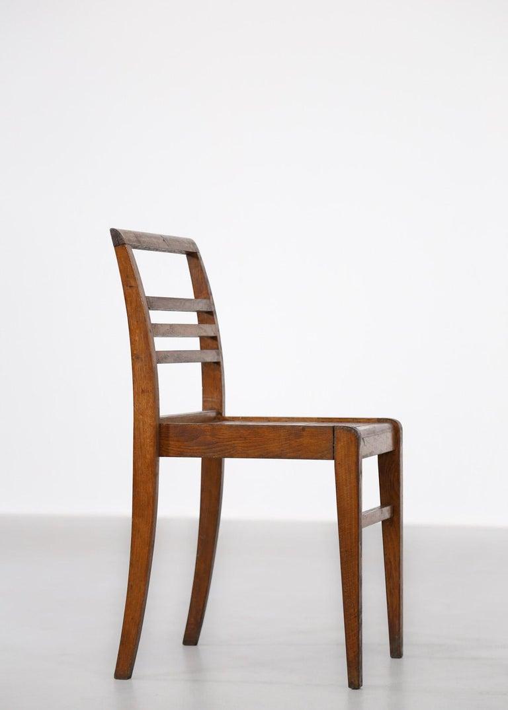 Set of 8 Chairs by René Gabriel, Vintage Oak, 1950s For Sale 2