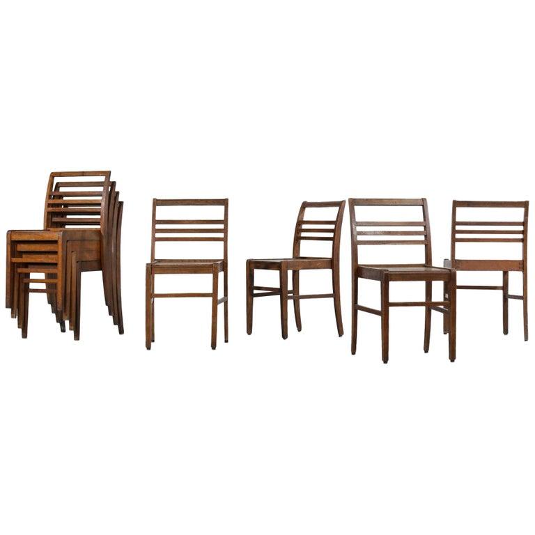 Set of 8 Chairs by René Gabriel, Vintage Oak, 1950s For Sale
