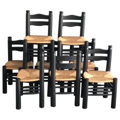 Set of 8 Chairs Charles Dudouyt in Black Stained Oak, 1940