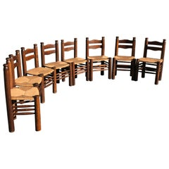 Set of 8 Chairs Charles Dudouyt Oak, 1940