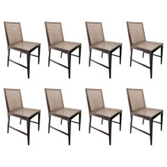 Set of 8 Chairs, Jacaranda Rosewood and Cane Seat, Brazilian Midcentury