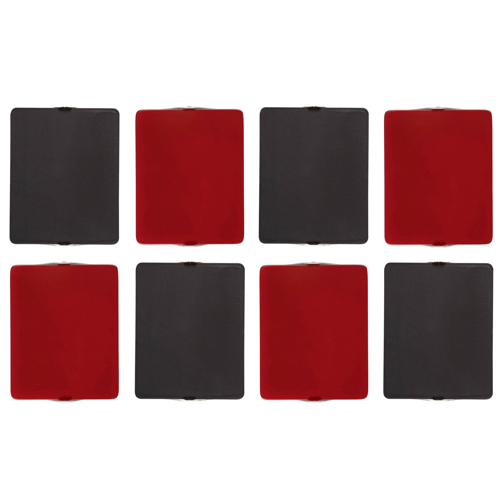 Set of 8 Charlotte Perriand 'Applique à Volet Pivotant' Red & Black Wall Lights