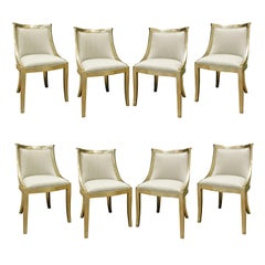 Set of 8 Chic Barrel Back Dining Chairs with Silver Leaf Frames, 1970s
