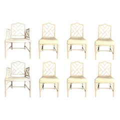 Set of 8 Chinese Chippendale Faux Bamboo Dining Chairs