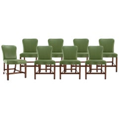 Set of 8 Chippendale Leather Dining Chairs by Rose Tarlow Melrose Hoiuse