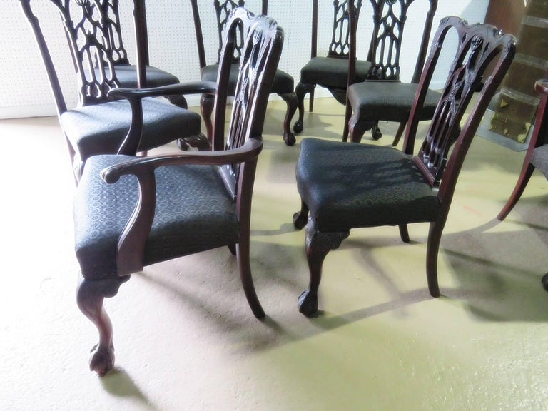 Set of Eight Chippendale Style Dining Chairs For Sale 5