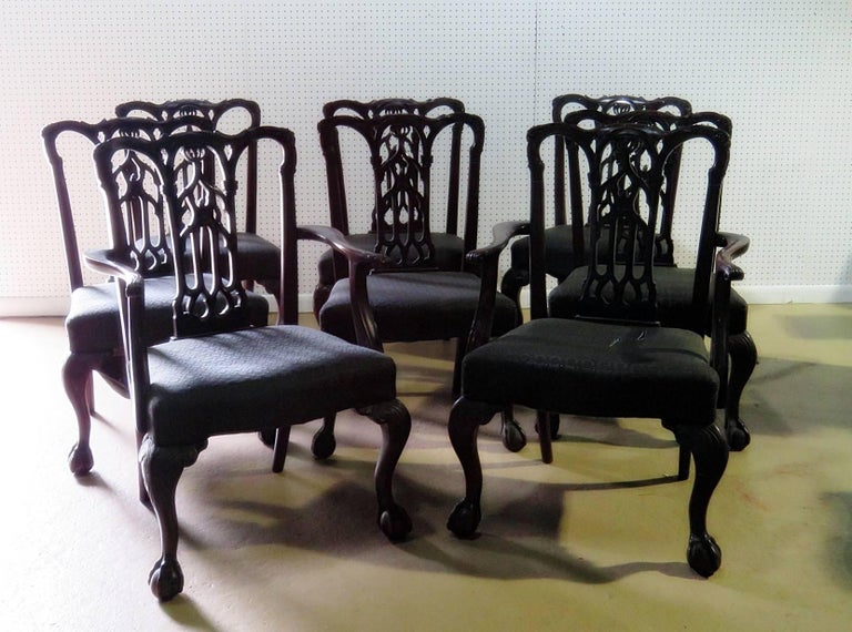 Set of eight Chippendale style dining chairs. Two armchairs measure 38