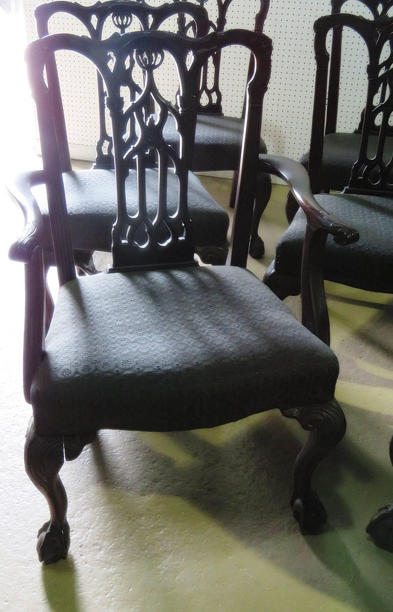 American Set of Eight Chippendale Style Dining Chairs For Sale