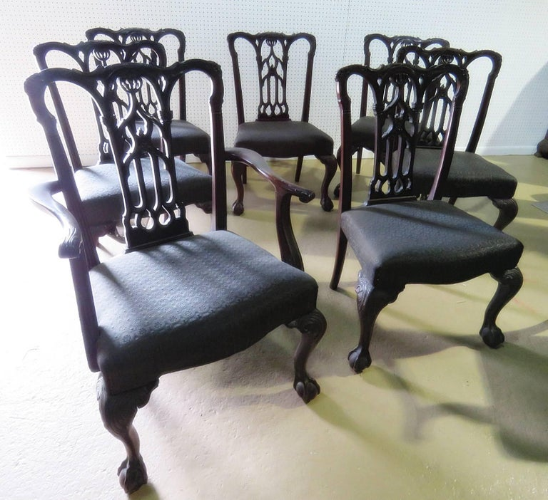 Upholstery Set of Eight Chippendale Style Dining Chairs For Sale