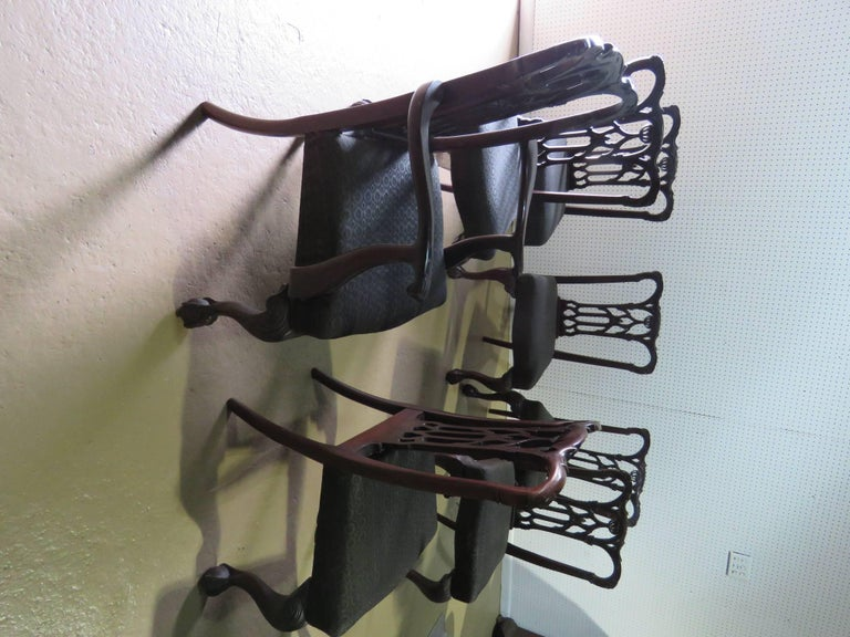 Set of Eight Chippendale Style Dining Chairs For Sale 1