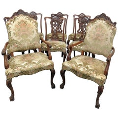 Set of 8 Heavily Carved Chippendale Style Dining Chairs C1920s