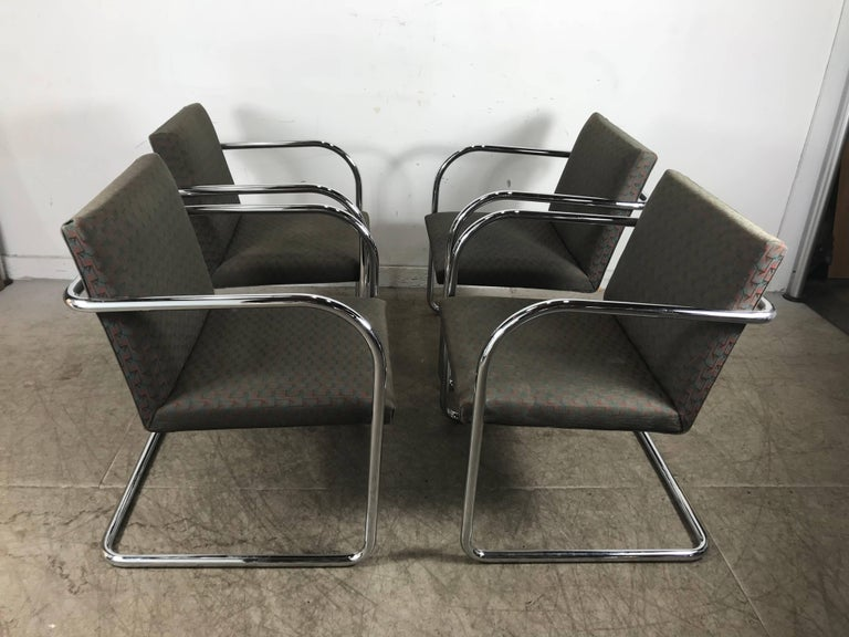 Set of eight chrome Brno chairs by Mies Van Der Rohe for Thonet, classic Bauhaus design, nice original condition, hand delivery avail to New York City or anywhere en route from Buffalo NY.
