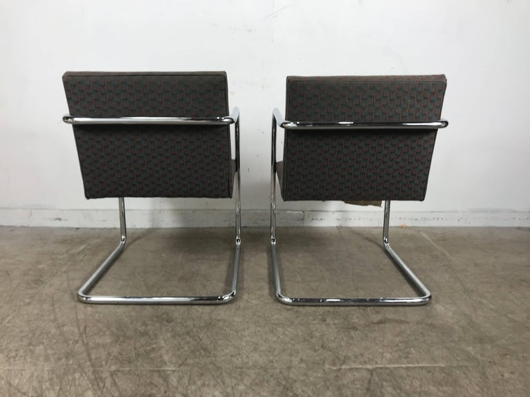 Fabric Set of Eight Chrome Brno Chairs by Mies Van Der Rohe for Thonet For Sale