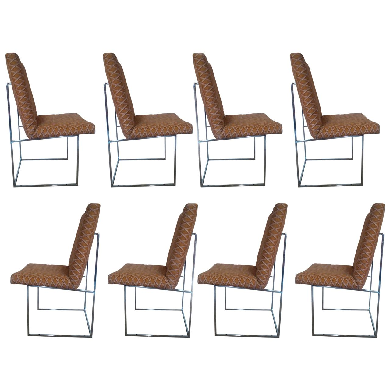 Set of 8 Chrome Dining Chairs by Milo Baughman for Thayer Coggin in COM