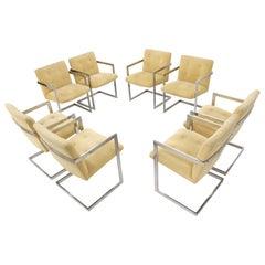 Set of 8 Chrome Milo Baughman Dining Chairs