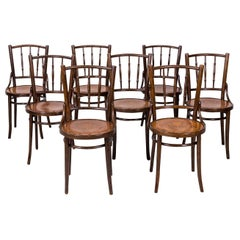 Set of 8 Classic Bentwood Cafe Chairs by Mundus and J. & J. Kohn