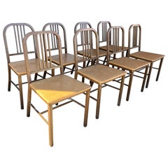 Set of 8 Classic Industrial Metal Side Chairs Made by HARD MFG CO