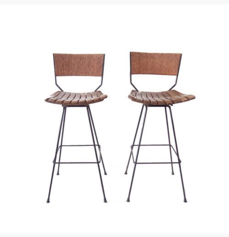 Set of 8 Clean Lined Mid Century Rattan & Metal Bar Stools For Sale