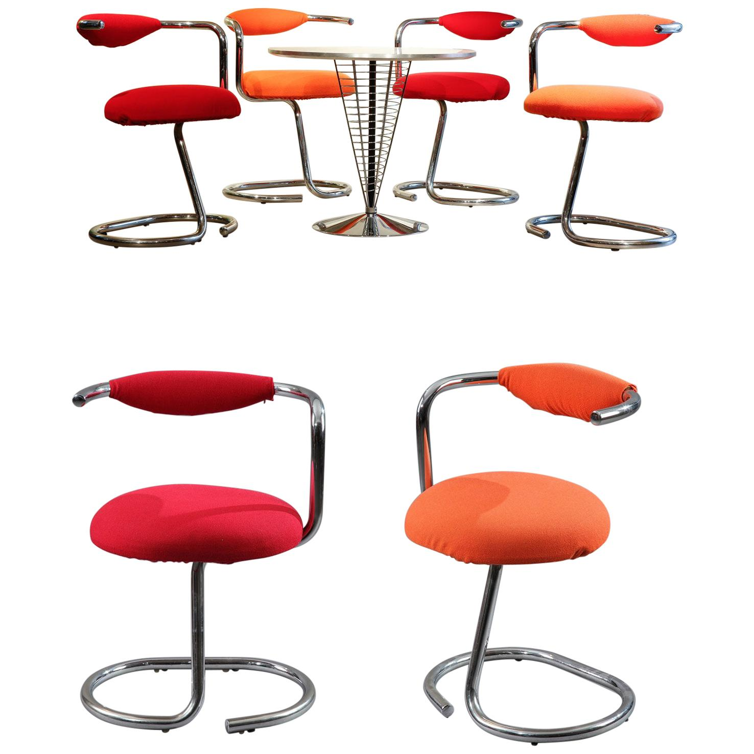 Set of 8 Cobra Chairs by Giotto Stoppino