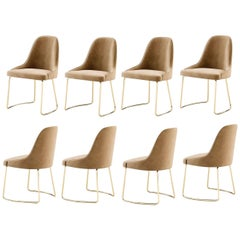 Set of 8 Contemporary Dining Chairs, Champagne/Gold