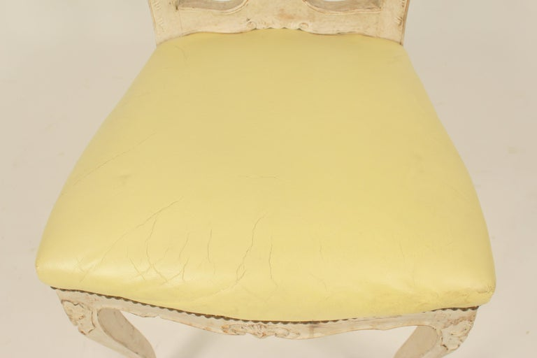 Set of 8 Continental Painted Louis XV Style Dining Room Chairs For Sale 5