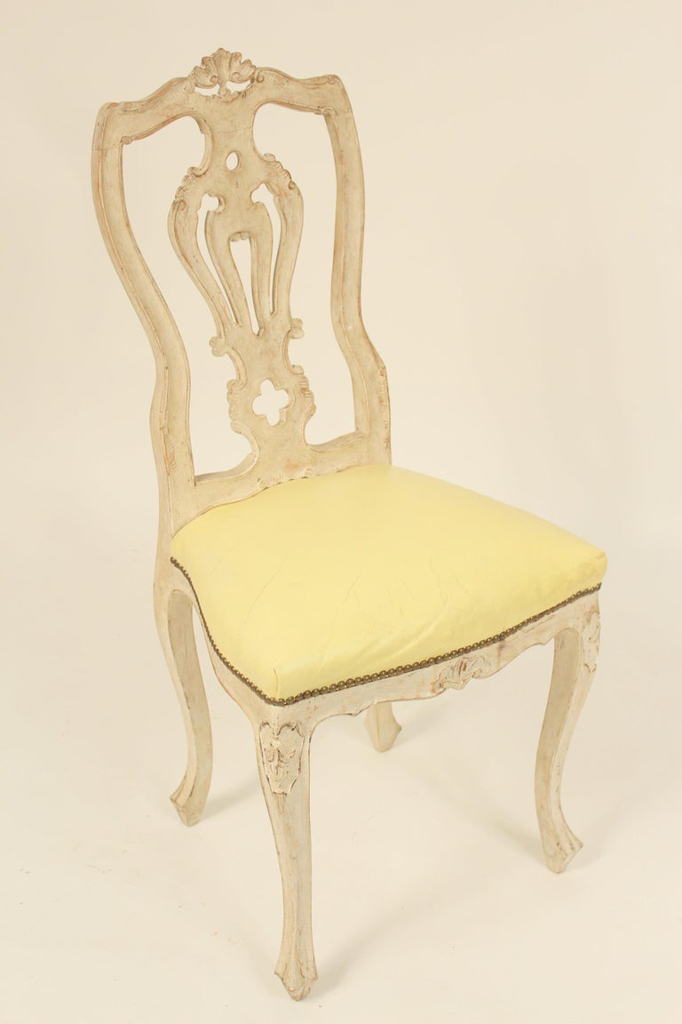 European Set of 8 Continental Painted Louis XV Style Dining Room Chairs For Sale