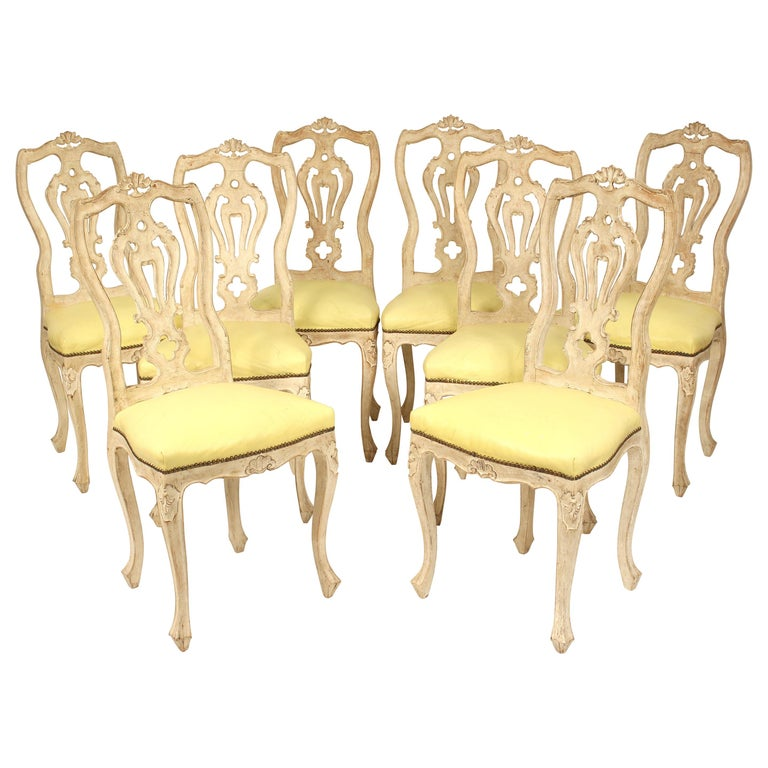 Set of 8 Continental Painted Louis XV Style Dining Room Chairs For Sale