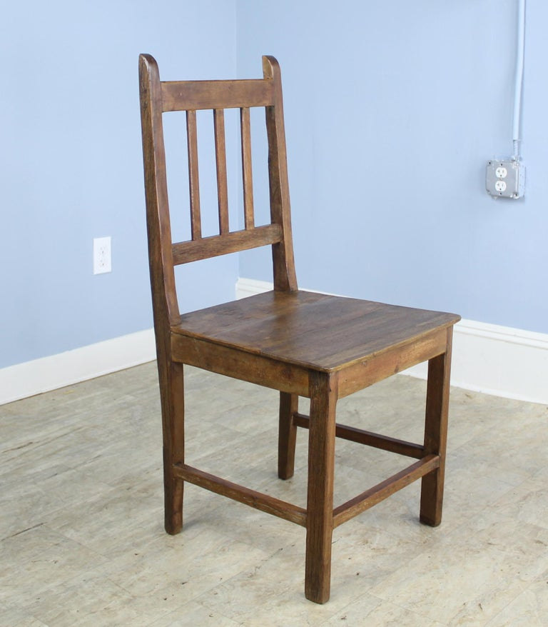 English Set of 8 Country Oak Dining Chairs For Sale