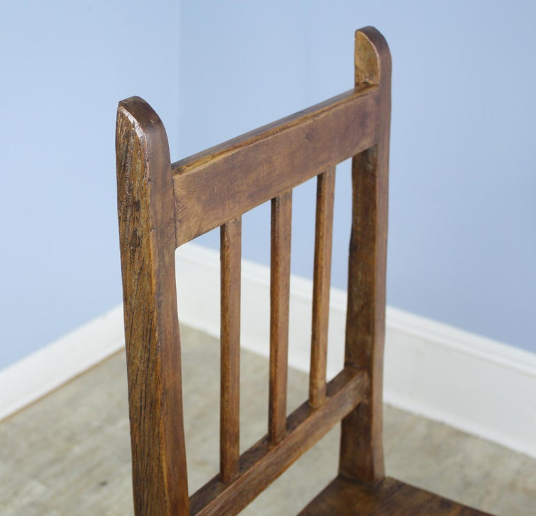 19th Century Set of 8 Country Oak Dining Chairs For Sale